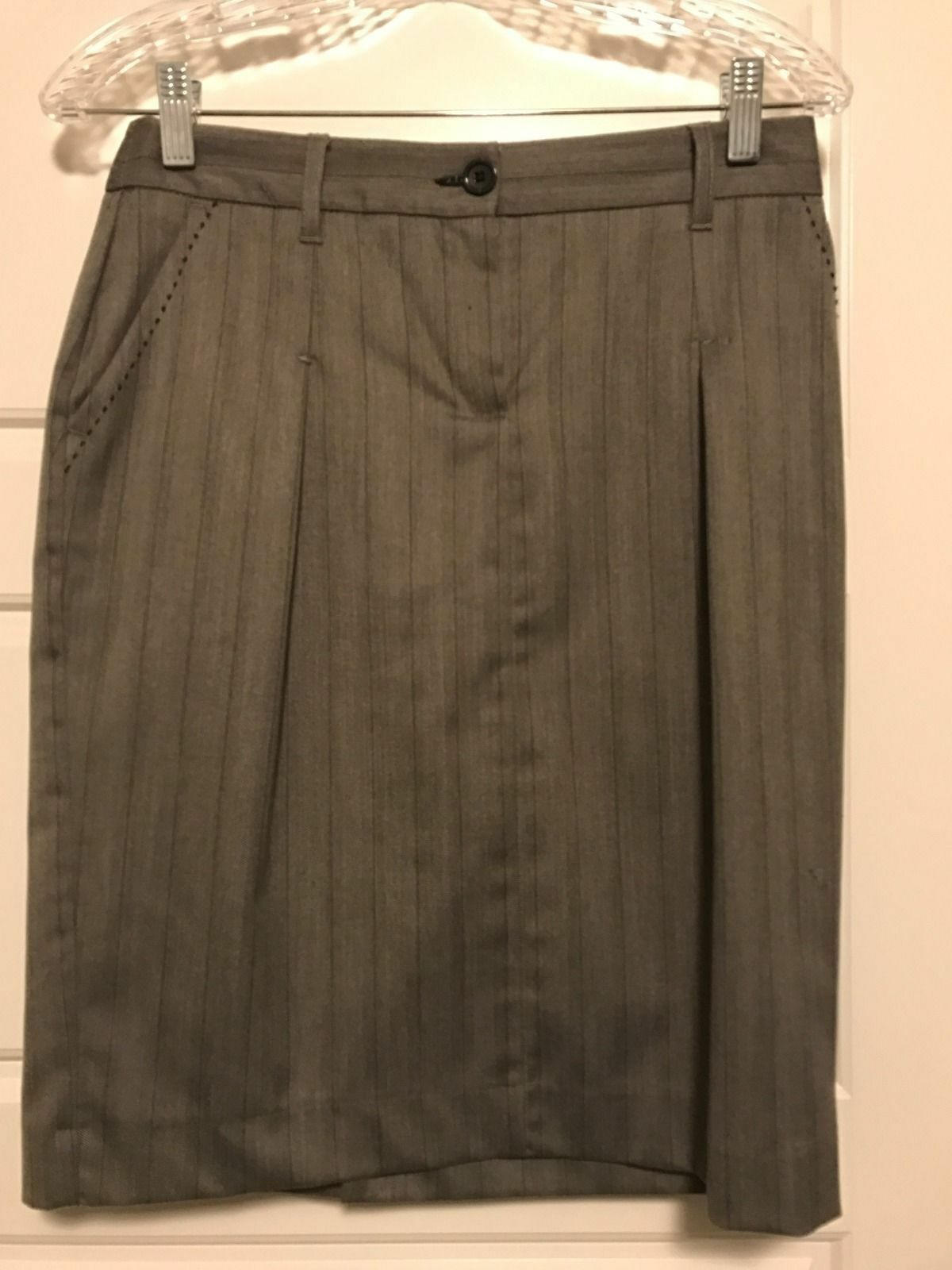 MNG Grey Pinstripe Skirt Suit With Stitch Detailing Size 4 - Slimming