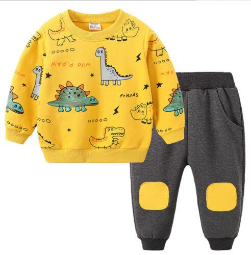 Boys Kids Tops+Pants Long Sleeve Tracksuits Sportswear 2pcs set Outfits AGE 1-6