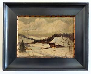 Oil-on-panel-cardboard-snowy-landscape-mountain-chalet