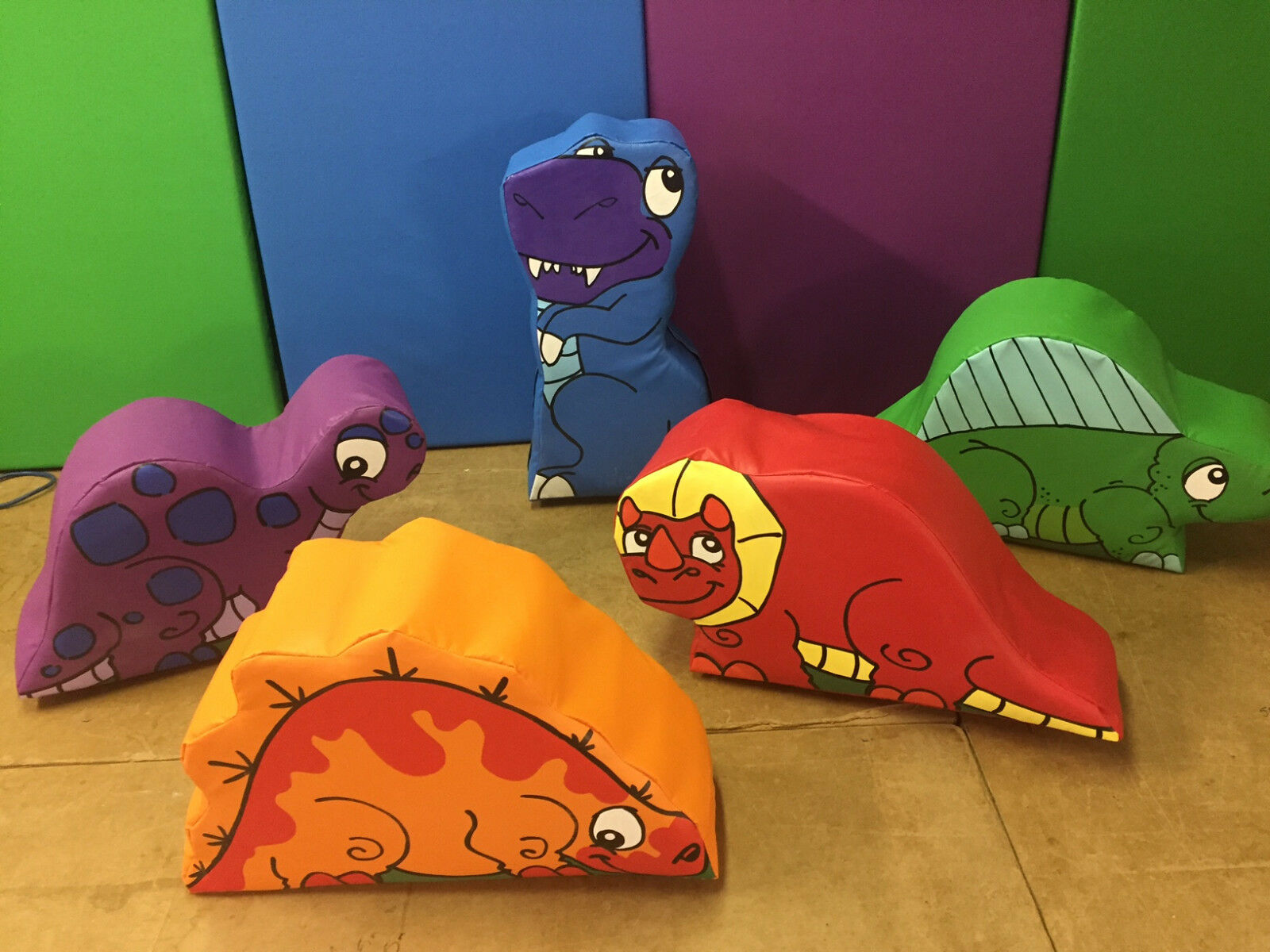 Dino Set of Soft Play approx approx approx 20 x 29 inch each vary Sit on or play FREE POST b7ce02