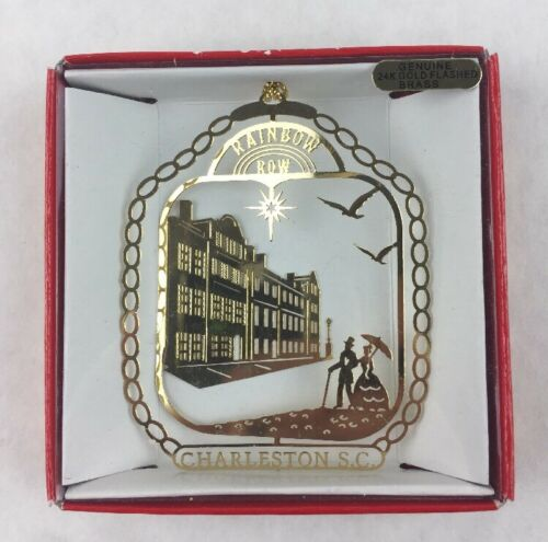 Rainbow Row 24K Brass Metal Souvenir Ornament Nations Treasures Charleston S.C