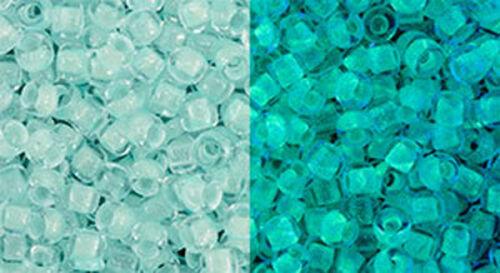 Mint Green //Glow Bright Green  28 GRAMS Toho 8//0 Seed Beads Glow In The Dark
