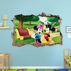 Image Is Loading Mickey Mouse And Minnie 3d Wall Sticker