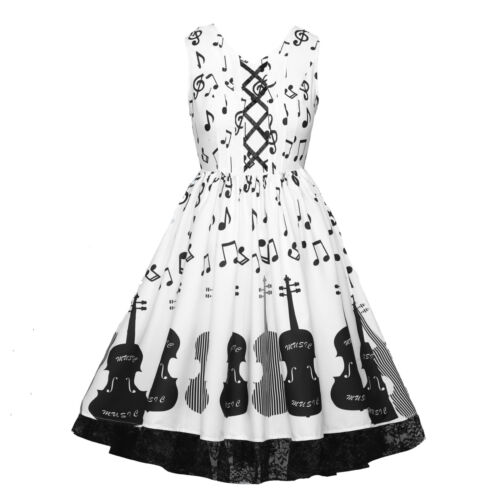 2561  Music Note violin printed Retro Pleated Dress Lace patchwork Dress L-5XL