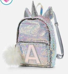 NWT JUSTICE Girls Pastel Unicorn Flip Sequin Full Size Backpack ~ Choose Letter!