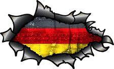Carbon Fibre Fiber Ripped Open Torn Metal Germany German Flag Vinyl car sticker