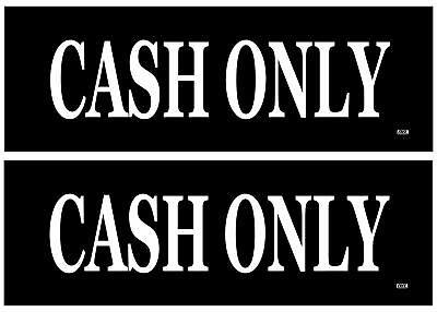 2 Pack Cash Only Cashier Cash Register Sticker Set Sign Warning 9x3 Vinyl Decal