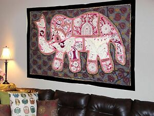 HANDMADE-ELEPHANT-BOHEMIAN-PATCHWORK-WALL-HANGING-EMBROIDERED-TAPESTRY-INDIA-X29