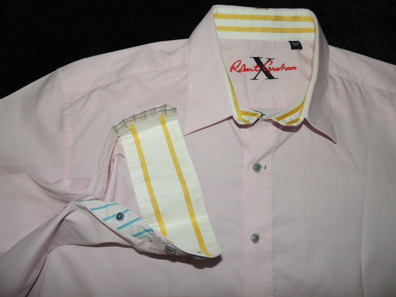 Robert Graham men's 100% cotton solid Pink Shirt size XL