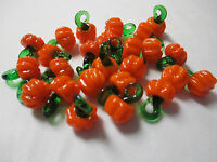 Mini Pumpkin Pendants Lot Of 25 Glass Lampwork Charms Wholesale Garden Veggies