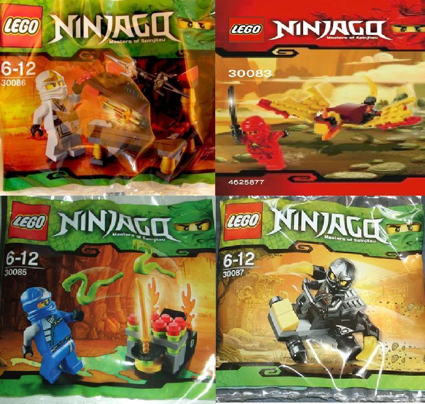 4x LEGO NINJAGO RAR tutti 4 NINJA BIANCO BLU ROSSO NERO 30083 30085 30086 30087