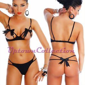 Ladies Sexy Black Bra G String Panties 2 Piece Valentine Bridal ...