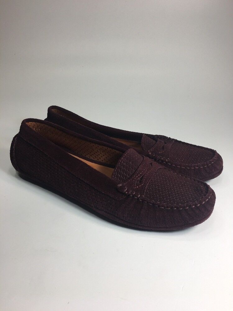 Aquatalia Brand NEW Burgendy Suede Driving Penny Loafers Womens Size 7 M
