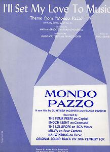 Je Vais Set My Love To Music Sheet Music From Film Mondo Pazzo 1964 3 Pages (vg +)-afficher Le Titre D'origine DernièRe Mode