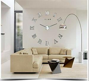 Details About Silver Luxury Oversized Roman Number Frameless Large Wall Clock 3D Home Decor