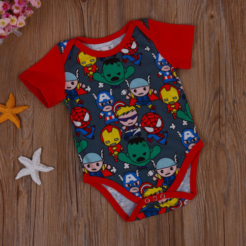 Newborn Baby Boy SuperHeros Romper Bodysuit Jumpsuit Summer Clothes Outfit 0-18M