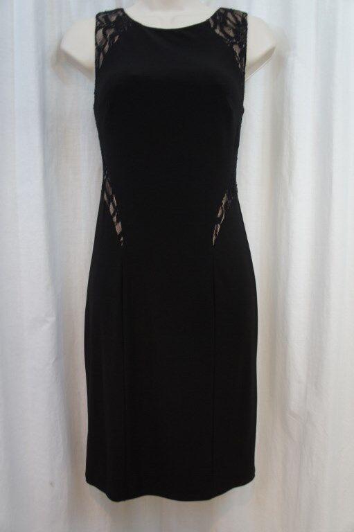 Xscape Cocktail Dress Sz 4 schwarz Nude Sequined Lace Stretch Jersey Evening