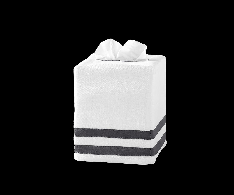 Matouk Allegro Tissue Box Cover - Charcoal - Set of 2
