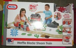 Little-Tikes-Waffle-Blocks-Steam-Train-Track-Big-Playset-177pcs-Kit-Building-Toy