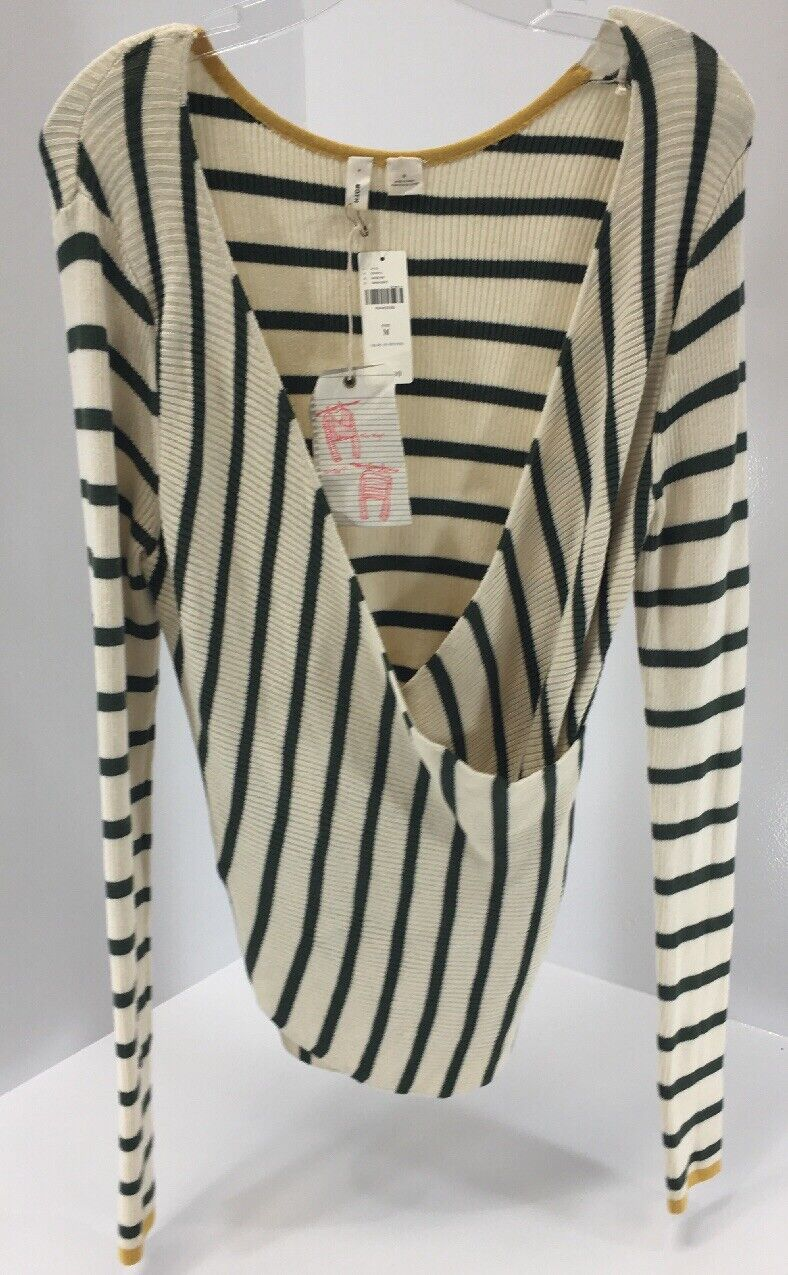 Anthropologie damen L S Striped Multiway Top Ivory Hunter Grün Sz Medium NWT