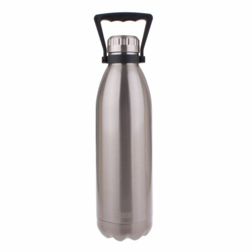 OASIS DRINK BOTTLE HANDLE 1.5 LITRE Double Wall Insulated Hot Cold SILVER