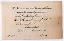 1924 THE NOBLE AND GREENOUGH SCHOOL Graduation Invitation NOBLES Dedham Mass MA