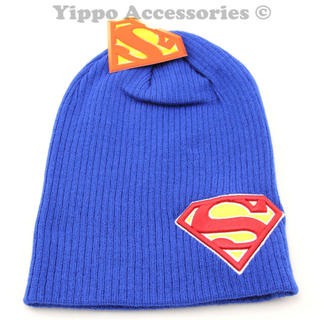 aba162e0 DC Comics Superman Embossed Patch Symbol Blue Knit Slouch Beanie Hat Skull  Cap