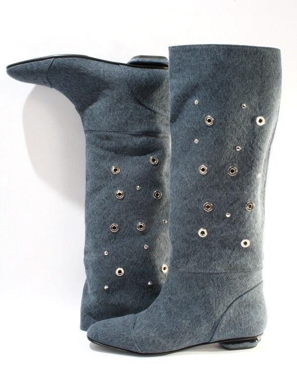 Gibellieri 3358a Blue Denim Summer Metallic Studs Knee-High Boots 36 / US 6
