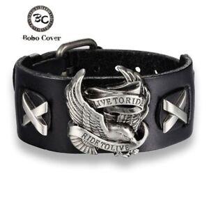Harley-Bracelet-Ride-Live-Bracelet-Eagle-Chain-Davidson-Bangle-Leather-Chopper