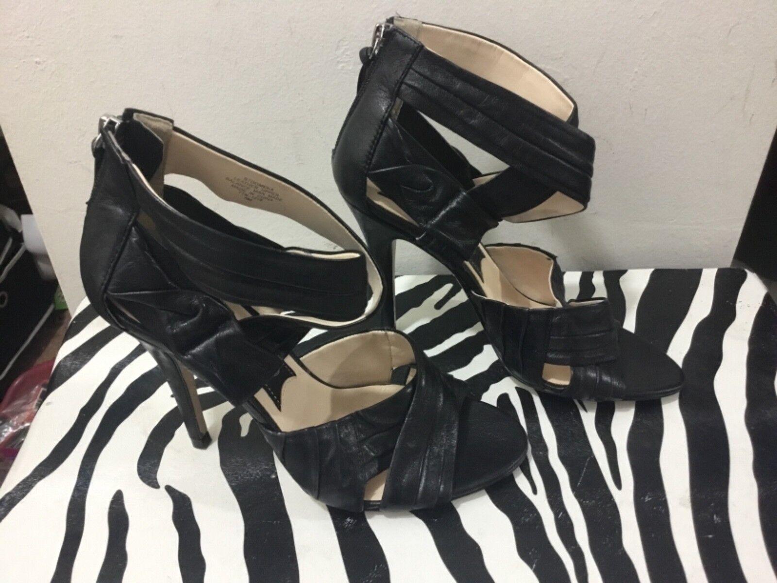 Boutique 9 ladies Größe 7.5 schwarz strappy Leder zipper back ankle strappy schwarz heels 8b90c4