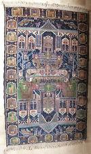 beau tapis persan beloutch fait main personnages animaux bleu vert carpet