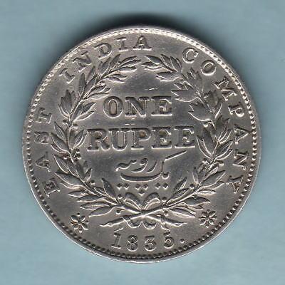 Gvf/ef 1835 William 1111 India Part Lustre Rs Incuse. One Rupee.