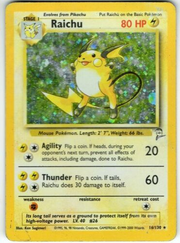 Pokemon Card Raichu Base Set 2-16//130 Holo-foil Rare Heavily Played