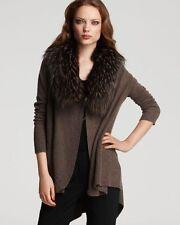 ALICE + OLIVIA Raccoon Fur Collar Wool + Cashmere Cascade Cardigan Sweater - S