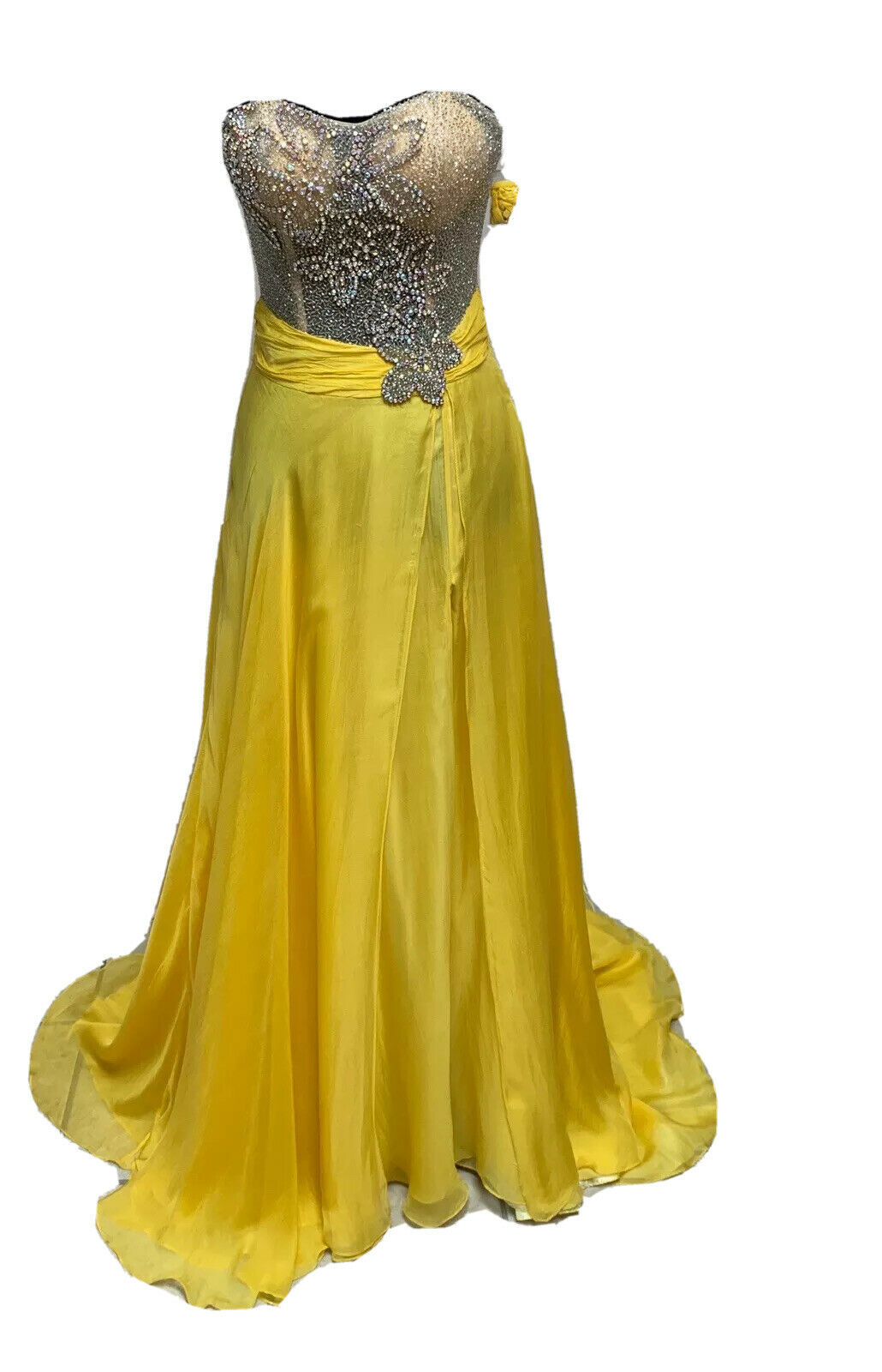 Size 4 Yellow Prom Homecoming Formal Pageant Evening Gown Dress