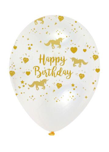Luft Gefüllte 6 Klar Gold Einhorn Party Ballons Dekorationen Helium