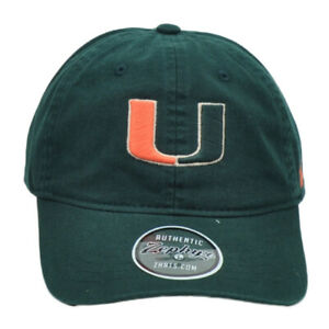 NCAA-Zephyr-Miami-Hurricanes-Cannes-Vert-Reglable-Decontracte-Chapeau-Bonnet