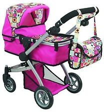 Baby Doll 2 Position Stroller Pink Design Adjustable Height Handle Swivel Wheels