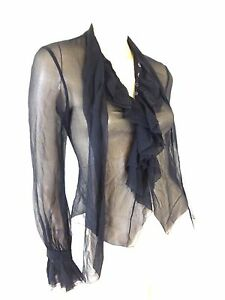 Renato Nucci Black Silk Sheer Ruffle Secretary Style Button Up