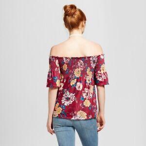d97c36d2718 NEW Women s Smocked Off the Shoulder Top Xhilaration Flower Floral M ...