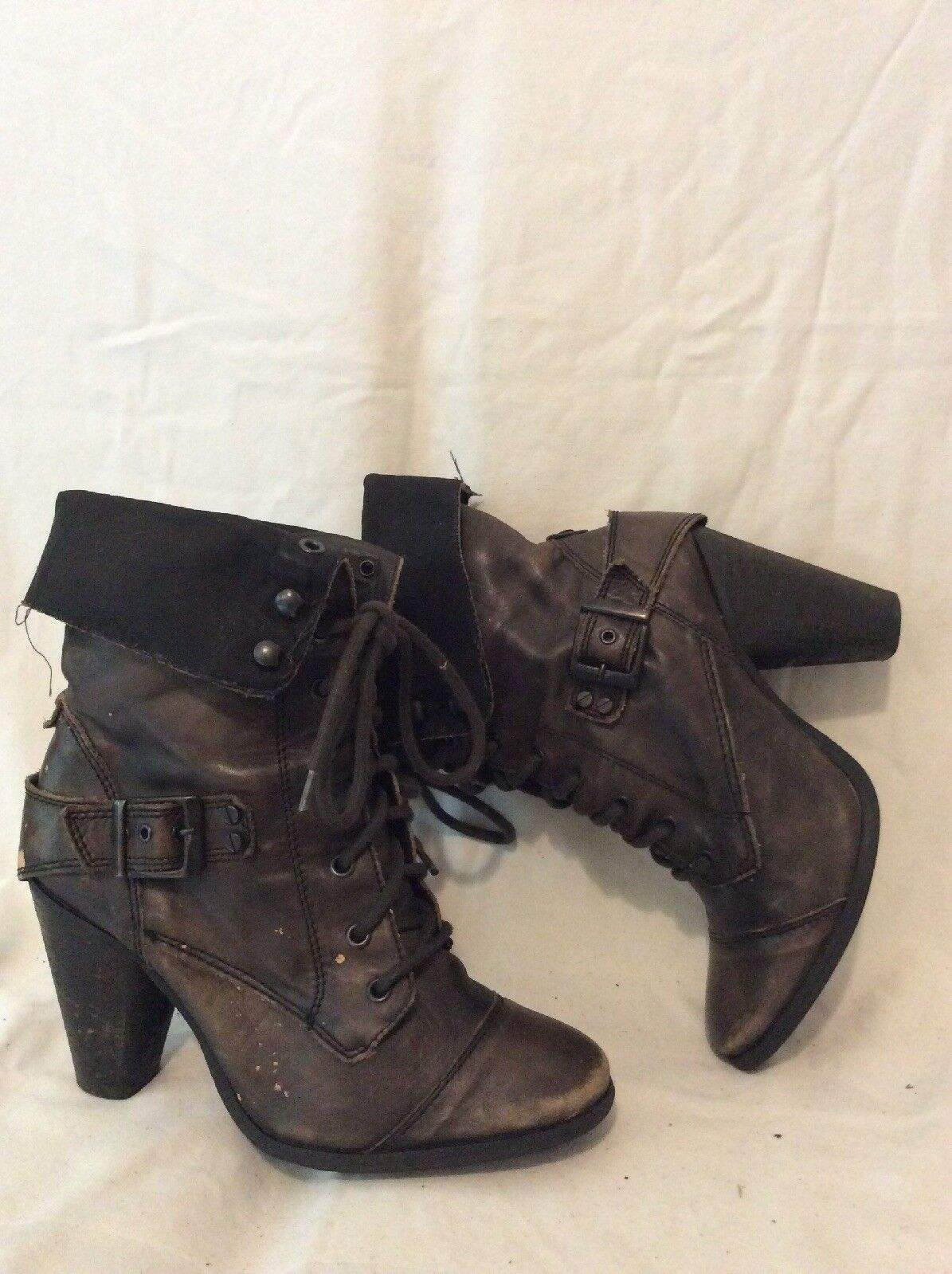 River Island Dark Brown Ankle Leather Boots Size 7