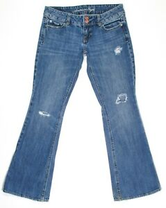 American-Eagle-Womens-Jeans-Artist-Bootcut-Distressed-Size-4-Low-Rise-Denim