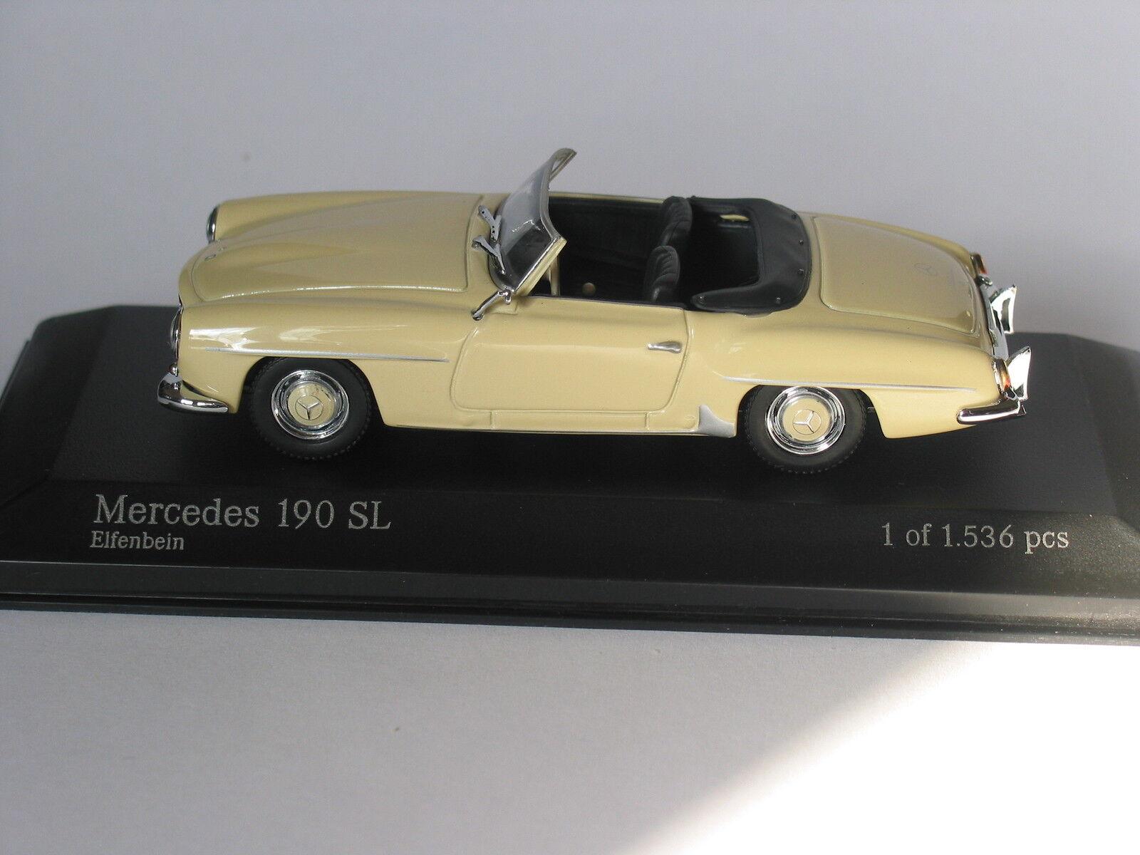 Mercedes W121 IVORY CREAM  190SL  ROADSTER   1 43 Minichamps VERY RARE