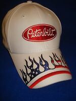 Peterbilt Hat: White / Solid Cloth With Usa Flames Free Shipping