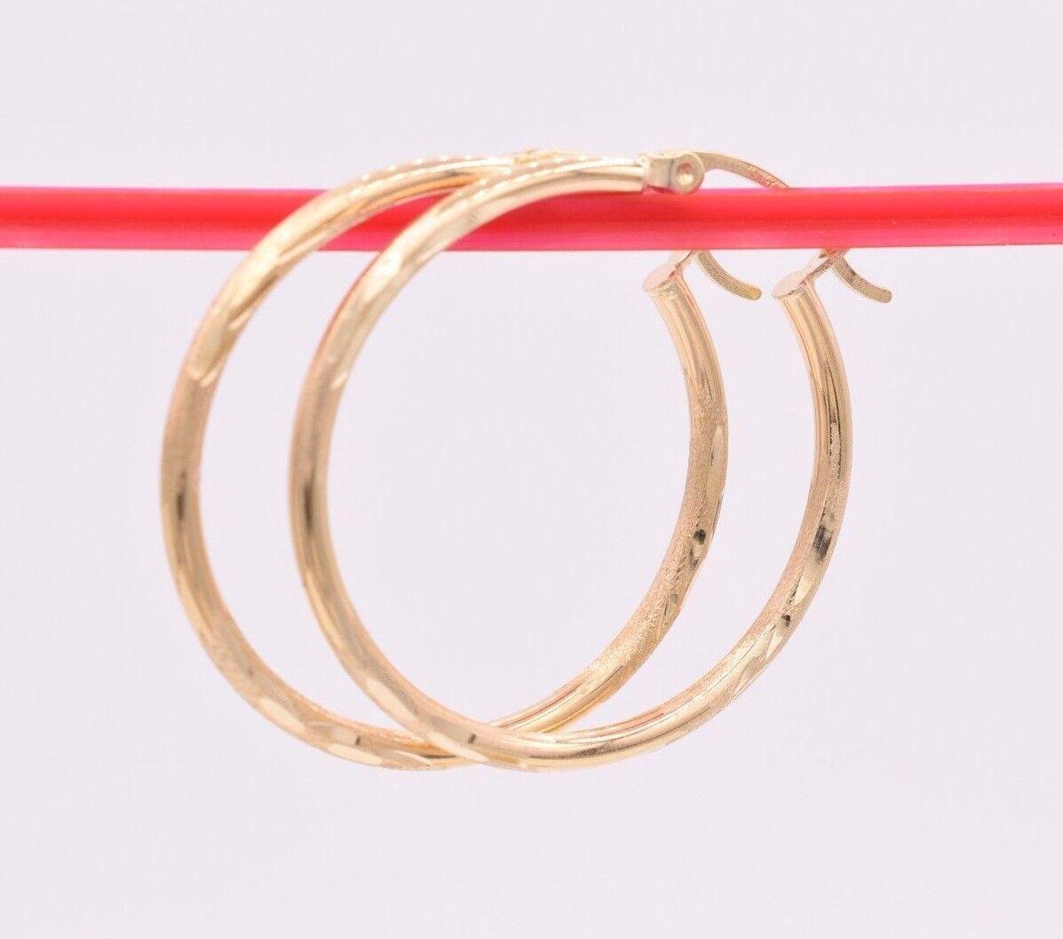 1 1 4  2mm X 30mm Large Diamond Cut Shiny Hoop Earrings REAL 14K Yellow gold