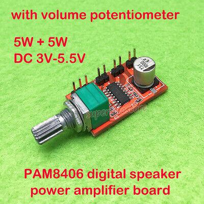 PAM8406 5W digital amplifier board with volume potentiometer 5Wx2