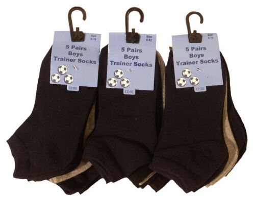 Boys 15 pairs Plain Dark Colours Trainer Socks Back To School