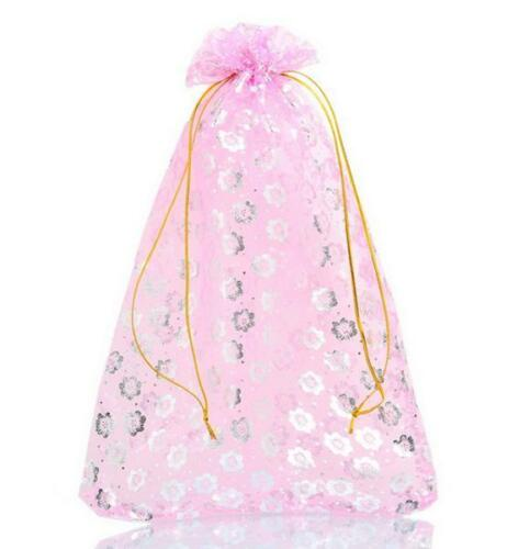 Pouches XLarge Size 17 x 24cm Pink with Silver Flower Design Organza Gift Bags