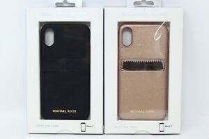 timeless design 5d36c 4a241 Details about MICHAEL KORS MK Snap On Phone Case Saffiano Leather for  iPhone X NEW