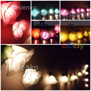 Details About 20 Rain Lilly Flower String Lights Fairy Wedding Party Bedroom Light Living Room